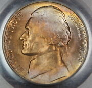 1950-d Jefferson Nickel Coin, Pcgs Ms-65 Toned