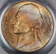 1950-d Jefferson Nickel Coin Pcgs Ms-65 Toned