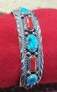 Native American Navajo Collectible Kingman Turquoise And Coral Bracelet Cuff Usa