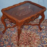 Vintage Solid Walnut Sofa Coffee End Occasional Table Carved Nude Female Tray