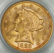 1888 Liberty 2.50 Gold Quarter Eagle Pcgs Ms-63 Better Coin