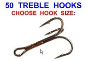 50 Mustad Treble Hooks Game Coarse Sea Fishing Lures Rigs Pirks Spoons Spinners
