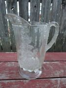 Antique Large Eapg Grape Paneled Water Pitcher C.1800's Tree Trunk Handle
