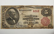 Series 1882 5 National Currency Note, Central National Bank, Troy Ny Ch. 1012