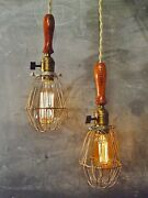 Double Trouble Set Of 2 Vintage Industrial Trouble Lights - Bulb Cage Lamp