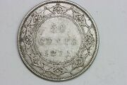 Very Great Condition 1872-h Newfoundland 50 Cents Silver Coin Km 6 - Vg Newf112