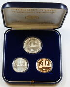 1988 Israel 3 Coin Proof/bu Set Silver And Gold 40th Anniversary Of Independence