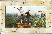 Duck Hunting From A Skiff Post Card W/ Pmk 8-6-1911 Portsmouth Nh. Vf Bp2430