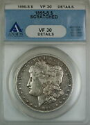 1895-s Morgan Silver Dollar Anacs Vf-30 Details Scratched Circulated Coin