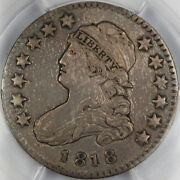 1818 Capped Bust Silver Quarter B-8 Pcgs Au Details - Cleaning, Attractive Coin