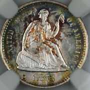1873-s Seated Liberty Silver Half Dime Ngc Ms-63 Toned Gem Bu Coin Dgh