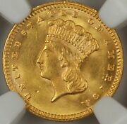 1874 Type Iii 1 Gold Coin Ngc Unc Details Obverse Improperly Cleaned Akr