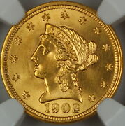 1902 Liberty 2.50 Quarter Eagle Gold Coin Ngc Unc Details Improperly Cleaned
