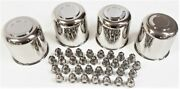 4 Trailer Wheel Lug And Cap Sets - Stainless Hub Cover 8 Ss Lugs 4.90in. Center