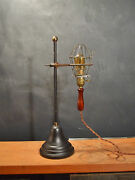Vintage Antique Industrial Trouble Light With Stand - Cage Pendant Lamp Lab