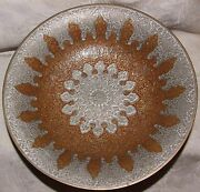Beautiful Vintage India Brass Footed Bowl Silver Bronze Chased Arabic Motif