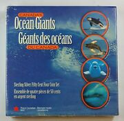 1998 Canada 50 Cent Sterling Silver 4 Coin Set Ocean Giants W/box And Coa