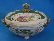 Vintage 60and039s Exquisite Hand Painted Tureen Made In Japan Panorama Pattern
