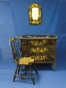 Whimsical Painted And Decorated Bedroom Set In Black Polychrome And Mother Of Pearl