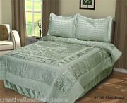 Queen Checkerboard Shimmer Comforter Set 4pcs Sage Green Holiday New 7196