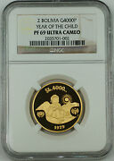 1979 Bolivia 4000 Pesos Gold Coin, Ngc Pf-69 Uc, Year Of The Child Km199