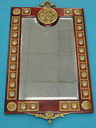 Italian Wood Frame Mirror With Beveled Glass, Porcelain Medallions And Brass Work