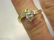 Marquise Square Cut And Round Diamond Ring 18k Gold Size 5-1/4 Make Offer