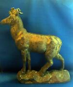Rare Large And Heavy 19th Century Antique Cast Iron Stag Deer Door Stop