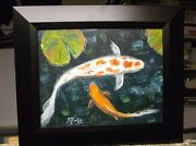 Swimming Koi Fish Lily Pads Painting.wide Black Frame.original Mazz Art 11 X 14