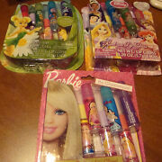 Girls 7 Pc Lip Gloss Sets Party Favors/gifts Tinkerbell Barbie And Princesses Nib
