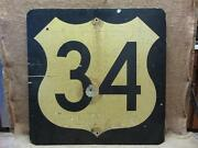 Huge Vintage Highway 34 Sign Thick And Heavy Old Antique Signs Reflective 7231