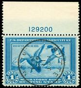 Momen Us Stamps Rw1 Used Duck Pns Weiss Graded 85/90