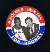 Rare 1978 Larry Holmes Fred Rooney Boxing Political Pinback Button Pennslyvania