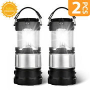 2x Usb Solar Portable Outdoor Led Rechargeable Camping Lantern Bright Tent Lamp