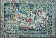 Antique Scenic French Tapestry Wool W Figures Dogs And Sheep Framed Huge 6and039 X 4and039