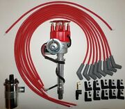 Bbc Chevy 396-454 Small Hei Distributor +45k Coil+red Universal Spark Plug Wires