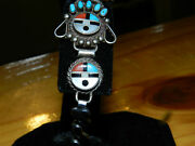 Superb Mid 1900and039s Inlaid Zuni Pueblo Sunface Sterling Watch Band/14k Gold Face
