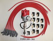 Ford 289-302 Red Female Small Cap Hei Distributor, Universal Spark Plug Wires 45