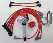 Small Block Chevy Red Small Hei Distributor + 45k Coil +spark Plug Wires Over Vc