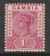 Gambia 1898 1d Carmine With Repaired And039sand039 Sg 38b Mint.