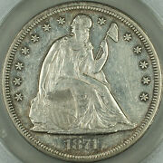 1871 Seated Liberty Silver Dollar 1 Anacs Au-55 Details Cleaned Akr