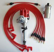 Chevy 327 350 Red Female Small Hei Distributor+45k Coil+plug Wires Under Exhaust