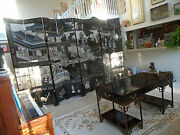 Asian Floor Screen Coromandel Carved Painted 8and039x12and039 Magnificent Room Divider