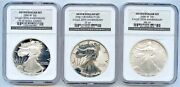 2006 20th Anniv. Silver Eagles 3 Piece Set Ngc Graded 69s