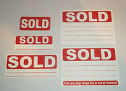 Red Sold Stickers Swing Tag Labels Sticky Labels Different Pack Sizes Available