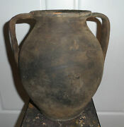Very Rare Early 1700and039s Moravian Large Double Handled Water Vessel Pottery Jug