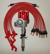 Sbc Chevy Red Female Small Hei Distributor And Spark,plug Wires Over Valve Covers
