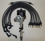 Sbc Chevy Black Female Small Hei Distributor And Spark Plug Wires Over Valve Cover