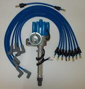 Sbc Chevy Blue Female Small Hei Distributor And Spark Plug Wires Over Valve Covers