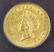 1854 Type 2 1 One Dollar Gold Coin Anacs Au-55